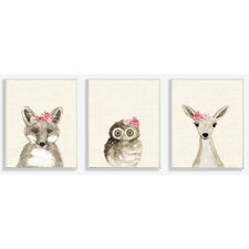 3 Piece Woodland Critters with Floral Headbands Wall Plaque Set