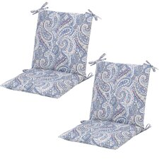 Delroy Paisley Poolside Mid-back Outdoor Dining Chair Cushion (Set of 2)