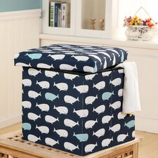 Katheryn Whale Covered Collapsible Ottoman by Viv + Rae
