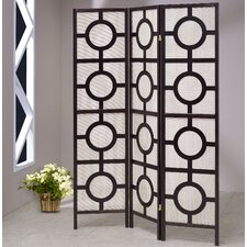 """72"""" x 54"""" Jute Screen with Circle 3 Panel Room Divider"""