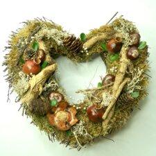 28cm Twiggy Moss Heart Wreath