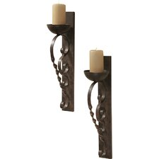 2 Piece Set Twisted Pillar Metal Sconce (Set of 2)