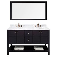 "Templeton 60"" Double Bathroom Vanity Set with White Carrara Top and Mirror"