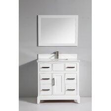 """Phoenix Stone 36"""" Single Bathroom Vanity with Mirror"""