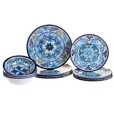 Talavera Heavy Weight Melamine 12 Piece Dinnerware Set, Service for 4