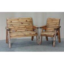 Rustic Sloped Back Pine Garden Armchair