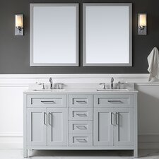 "Tahoe 60"" Double Bathroom Vanity Set with Mirror in Dove Gray"