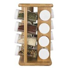 Bamboo Spice Jar & Rack (Set of 16)