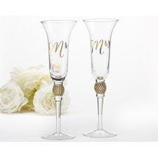 Glitter and Rhinestone Mr. & Mrs. 6 oz. Champagne Flute (Set of 2)