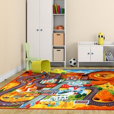 Disney Cars Polyester Orange/Green Kids Rug