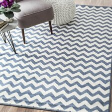 Poise Chevron Light Blue/White Area Rug