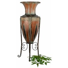 Old World Tuscan Metal Floor Vase
