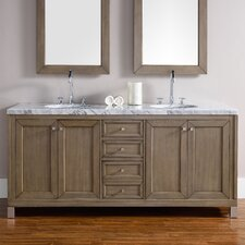 Chicago 72 Double White Washed Walnut Bathroom Vanity Set by James Martin Furniture