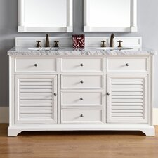 Savannah 60 Double Cottage White Bathroom Vanity Set by James Martin Furniture