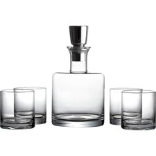 Giselle 5 Piece Linus Whiskey Glass and Decanter Set