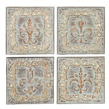 4 Piece Brown/Ivory Metal Wall Decor Set
