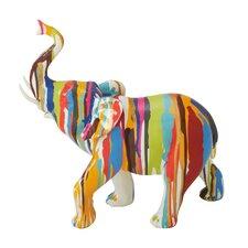 Elephant Glossy/Silver Resin Figurine