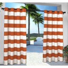 Birch Harbor Striped Semi-Sheer Grommet Curtain Panels (Set of 2)