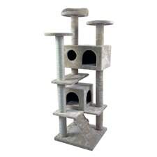 """50"""" Tower Furniture Scratch Post Kitty Pet House Play Furniture Sisal Pole and Stairs Cat Tree and Condo"""