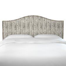 Caneadea Shibori Stripe Ink Linen Upholstered Panel Headboard