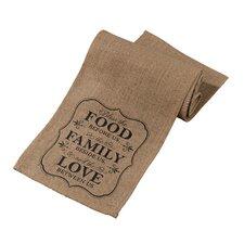 Food and Family Rustic Burlap Table Runner