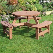 Heavy Duty Round 6 Seat Picnic Table