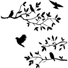 Mixture Of Birds On A Branch Decal Vinyl Wall Sticker