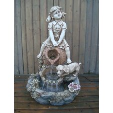 Girl and Dog Resin Water Feature