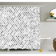 Zig Zag Hexagon Figures in Bright and Dark Color Hue Tone Intensity Blush Art Print Shower Curtain Set