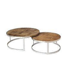 Eclisse Reclaimed Elm Wood Nesting Coffee Tables by Magari