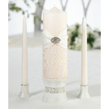 3 Piece Lace Unscented Pillar and Taper Candle Set