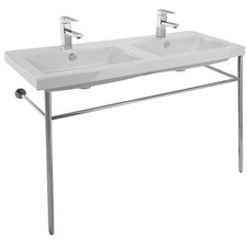 Cangas Basin Ceramic 47 Console Bathroom Sink with Overflow by Ceramica Tecla by Nameeks