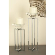 2 Piece Glass/Metal Candlestick Set