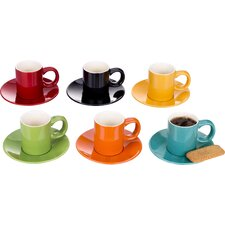 12 Pieces Rainbow Espresso Cup and Saucer Set