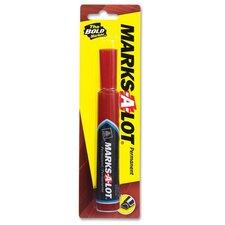 Permanent Ink Marker, Regular, Chisel Point, 1/CD, Red (Set of 6)