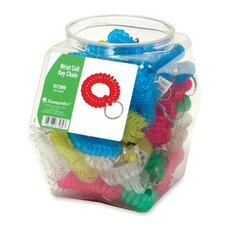 Wrist Coil Key Chain, 50/DS, Translucent Assorted