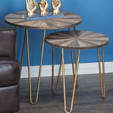 2 Piece Metal/Wood End Table Set by Cole & Grey