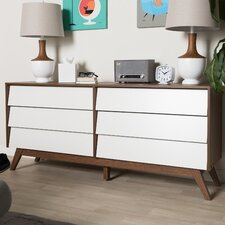 Baxton Studio Sergio Wood Storage 6 Drawer Dresser