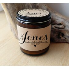 Family Last Name Established Personalized Scent Jar Candle
