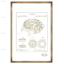 'Watch 2008' Framed Drawing Print in Gold