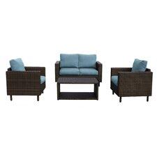 Draper 4 Piece Wicker Sofa Deep Seating Group with Cushions