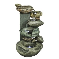 Polyresin Rockery Cascading Water Feature Fountain with Light