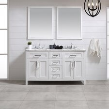 Tahoe 60 Double Bathroom Vanity Set with Mirror in White by Ove Decors