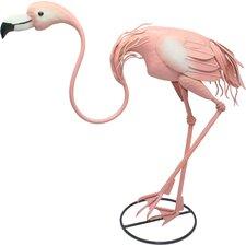 Metal Bending Pink Flamingo Garden Statue