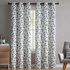 Loraine Nature/Floral Semi-Sheer Grommet Curtain Panels (Set of 2)
