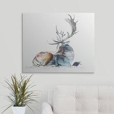 'Buck and Bird, 2006 (Charcoal)' by Mark Adlington Graphic Art Print on Canvas