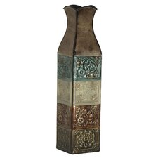 Embossed Metal Suzani Tile Vase