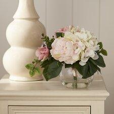 Myrte Faux Mixed Rose & Hydrangea in Glass Vase