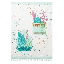 White/Teal Towel with Pom-pom Trim