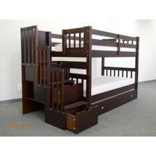 Shamar Twin over Twin Bunk Bed with Trundle and Storage